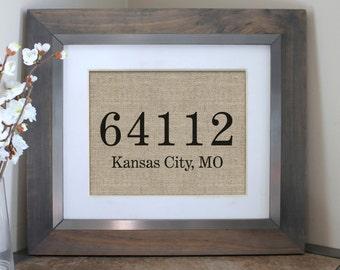 Housewarming Gift | Personalized Zip Code Burlap Print | Custom Zip Code City & State | Gift For New Home | Farmhouse Decor | Farmhouse
