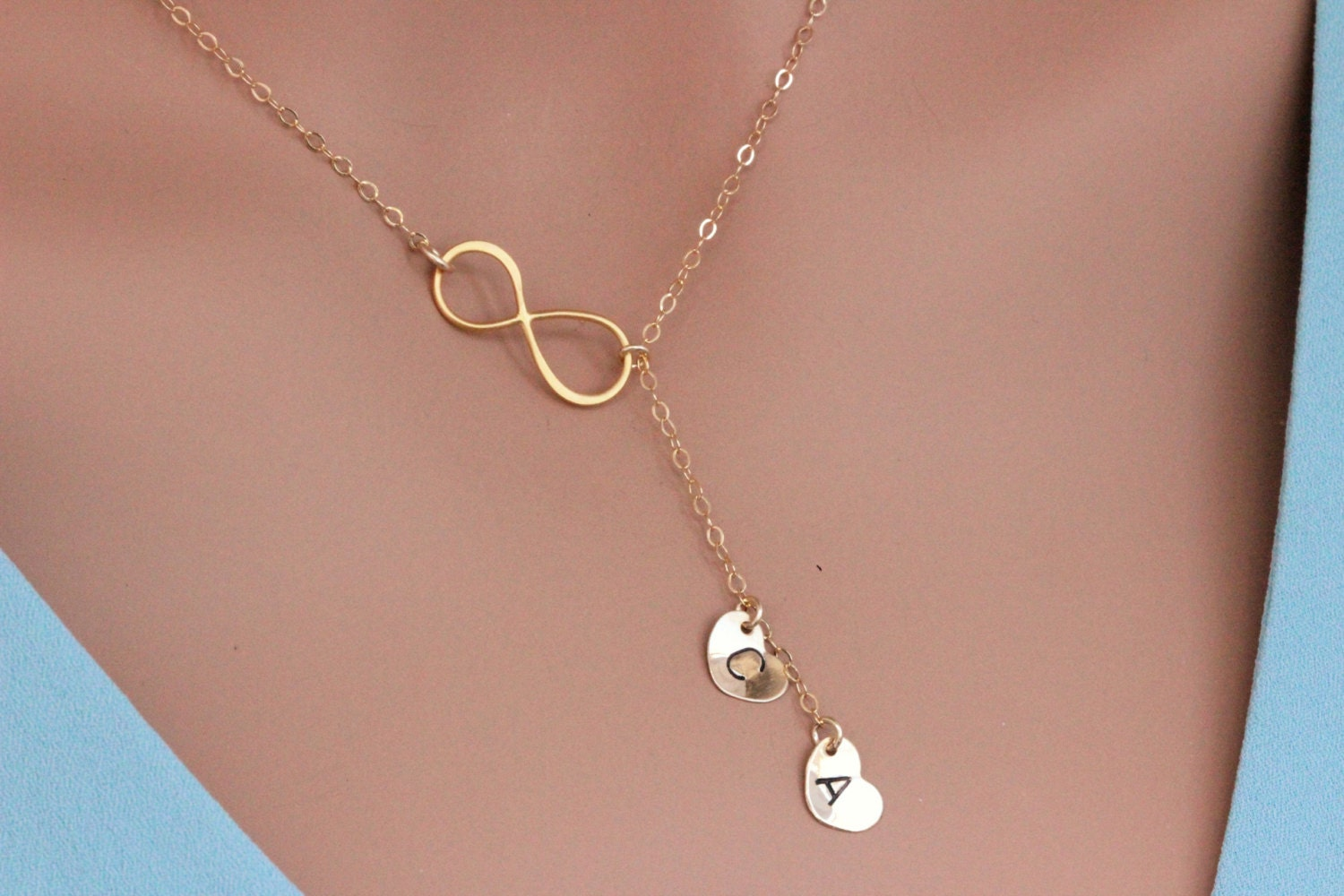 infinity heart necklace personalized infinity lariat. Black Bedroom Furniture Sets. Home Design Ideas