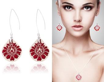 Ceramic jewelry set Red jewelry sterling silver Red earrings handmade ceramic earrings pendant Folk Statement dangle earrings clay jewelry