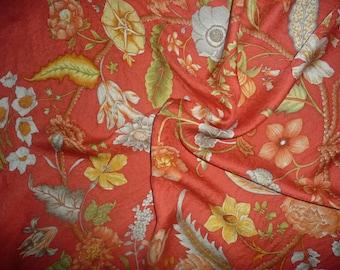 Jim Thompson Botanical vintage Silk Scarf, Spring Summer Mother's Day Gift