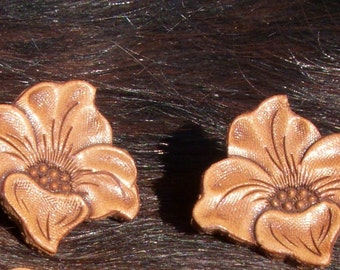 Vintage Tooled Leather Flower Earrings