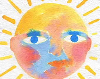 Solar Rainbow Face #2 - original watercolor painting