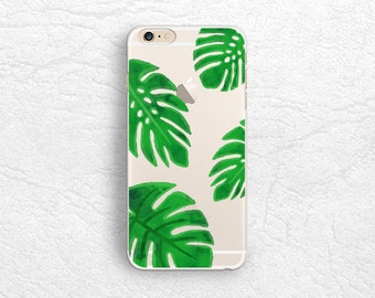 iPhone 7 Plus Case, Tropical Leaves Clear transparent phone case for iPhone 6s, Sony Z5, HTC one M9, LG G6, Nexus 5X, Samsung S8 Plus -P70