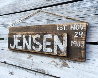 Personalized Rustic Wood Family Name Sign Anniversary Marriage Custom Reclaimed Wedding Date Decor