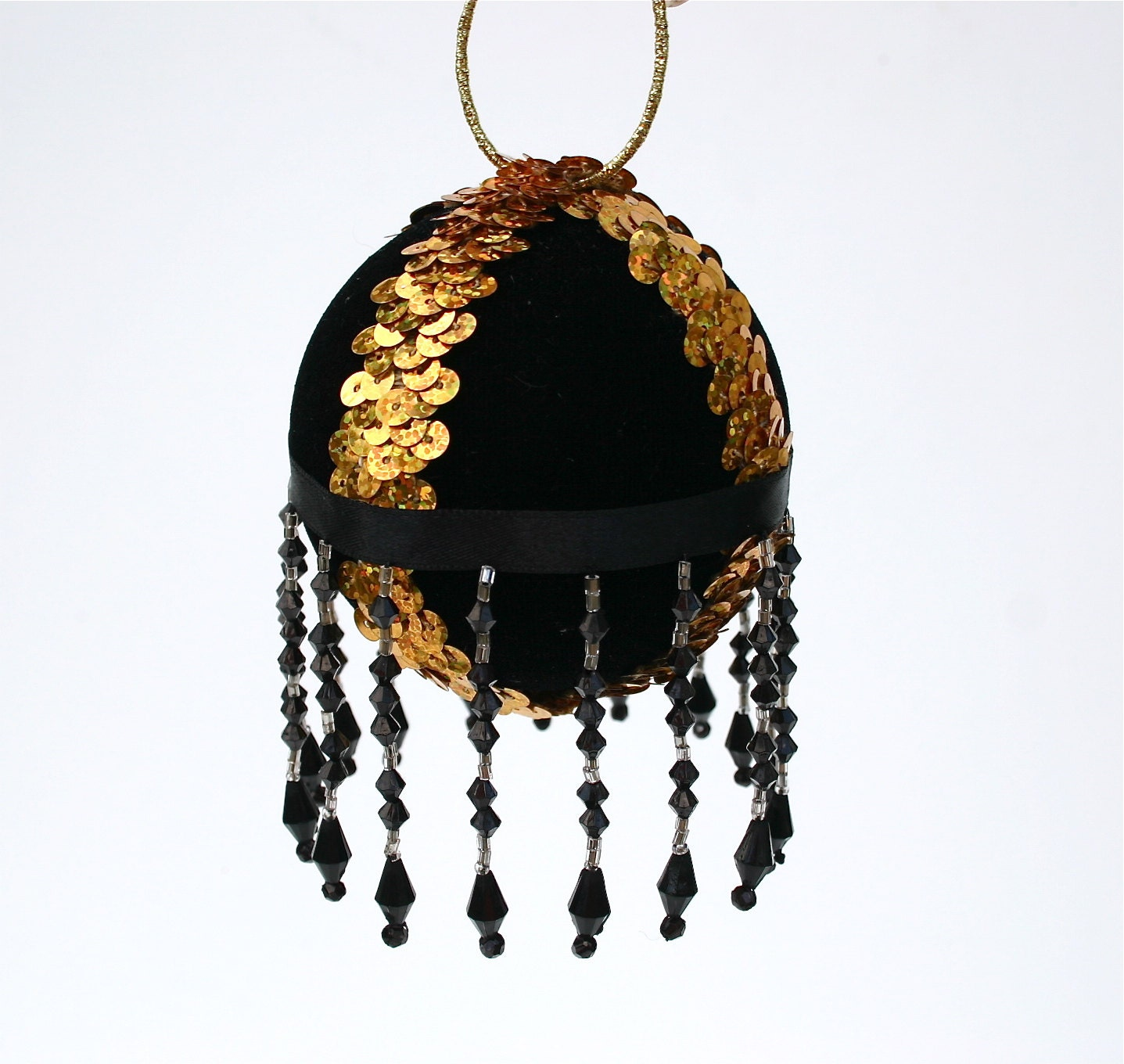Christmas Bauble Sequin Bauble Beaded Bauble Black And Gold