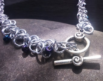 Shaggy Loop Chainmail Necklace with Spiral Toggle Clasp