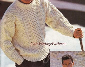 Mens Knitted Sweater  ...  Traditional Aran Pattern ... PDF Knitting Pattern ... Smart, Warm, Cosy Jumper ...... A Classic Sweater