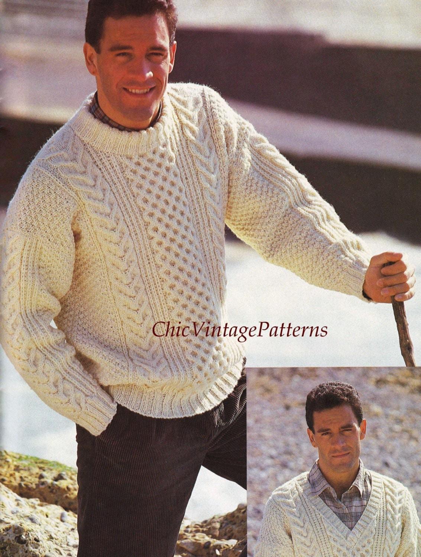 b6e25bd851be1 Mens Knitted Sweater ... Traditional Aran Pattern ... PDF