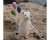 Cute mouse, Needle felt mouse, White mouse, Needle felt animal, Needle felt miniature, Birthday gift, Home decor
