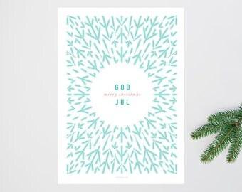 Skandinavische Weihnacht No. 2 / Scandinavian, Merry Christmas, Swedish, Norwegian, Typography Art, Kunstdruck Poster, Wall-Art