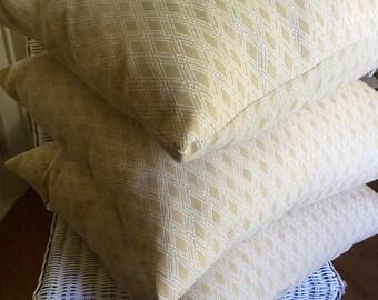 "Handmade 20"" pillowcase in soft creamy yellow and cream decorator fabric."
