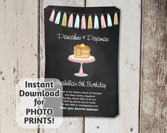Pancakes & Pajamas Invitation - Birthday Party - Instant Download Digital File - Get photo prints / printable on card stock - chalkboard