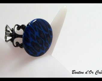Ring Blue Leopard
