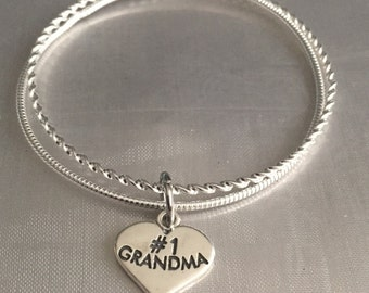 Sterling silver bangle bracelet set-sterling silver charm and bracelet