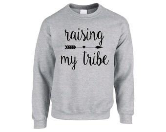 Raising My Tribe UNISEX Sweatshirt, Pregnancy Announcement, Pregnancy Shirt, Funny Sweatshirt, Baby Shower Gift, New Gift, Gift for Wife