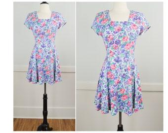 90s Dress, Vintage Clothing, 90s Clothing, Floral Dress, Mini Dress, 90s Clothes, Spring Dress, Shoulder Pads, Grunge, Summer Dress