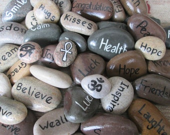 Set of 5 Sentiment, Inspirational, Wish, Pocket, Word, Symbol Stones/Pebbles. Made to Order.