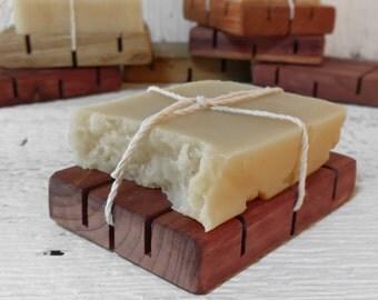 Beer Soap & Wooden Soap Holder Dish - Gift Set - Castor Olive Coconut Oils - Citrus Peppermint - Handmade All Natural Skin Care