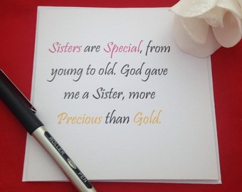 Best Gift For Elder Sister On Her Wedding : Sister Birthday Card, Handmade Greeting Card, Card For Best Friend My ...