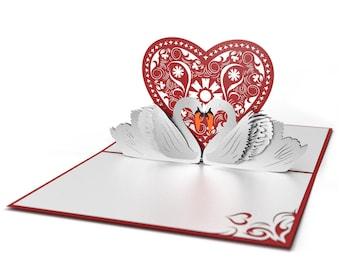 Swans Pop Up Card, Swans Love Card, Valentine's Day Pop Up Card, Valentine's Day Card, Love Pop Up Card, Love Card, Romance Card, Heart Card