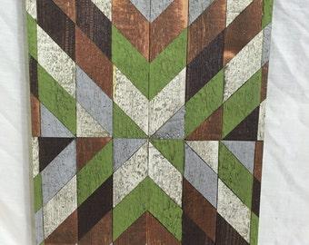 Small Wall Art, Green Diagonal Stripped