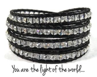 Aurora Borealis Crystal Beaded Bracelet, Leather Wrap Bracelet, Blessed Bracelet, Blessed Jewelry, Christian Bracelet, Christian Jewelry