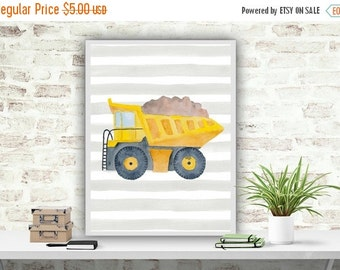 SALE Construction Truck Printable Art Print Watercolor Poster Nursery wall Art Print Transport Poster Boys Room Decor