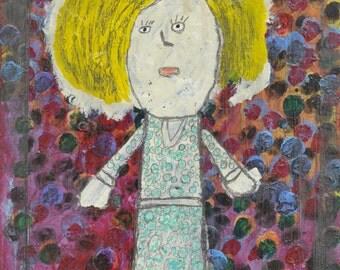 Painting Girl - Primitive - Outsider Art