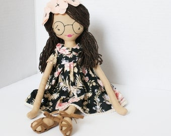 Handmade doll, Doll with glasses, rag doll, 18 inch doll, brunette doll, bciloveyou doll, heirloom doll