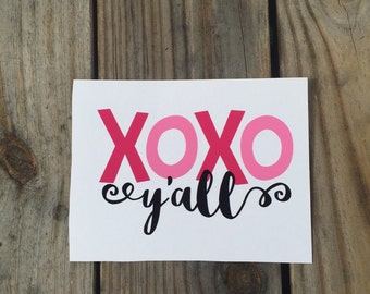 DIY XOXO Y'all Iron-On Vinyl Decal~Glitter Iron-On Vinyl Decal~ Iron-On Vinyl Decal