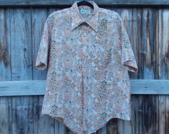 1970's Printed Collared Button Up Shirt Size XL