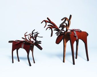Standing Leather Reindeer Christmas Decoration