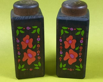 Vintage 1970's floral wooden salt and pepper shakers