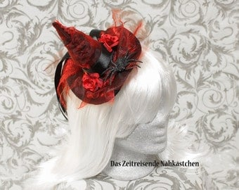 Witch's hat, mini hat, witch hat, Gothic, Lolita, red