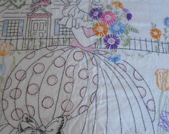 Pretty 1930's Embroidered Duvet Cover with Southern Belle