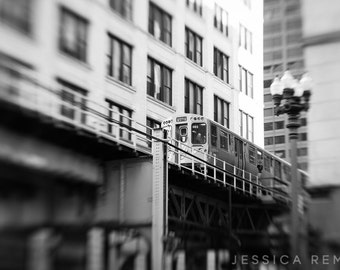 Chicago El Train black and white photograph wall decor Chicago photograph Chicago Street Photography