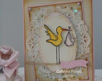 Handmade Shabby Chic Baby Card,  Welcome Baby