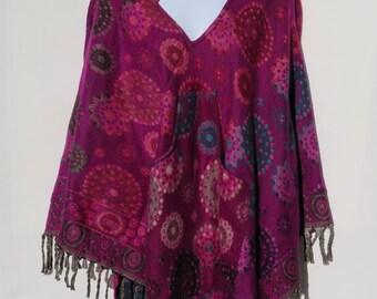 Poncho Hoodie Tassels Fringe Boho Bohemian 60s Designer Hippie HandmadeHimalayan Handloomed Yak Wool Blend Shawl Multicolored 1 Size 1957