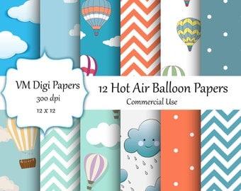 Hot Air Balloons Digital Paper, Balloons Digital Paper, Balloons  Paper, Digital Paper, Hot Air Balloon Paper, Hot Air Balloons #5374