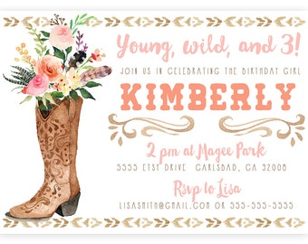 Cowgirl Birthday Invitation, Watercolor Flower, Boho Printable Invite (545)
