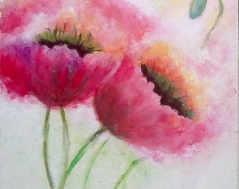 Table acrylic/poppy pink/flowers of pink poppies/arts/Sabah