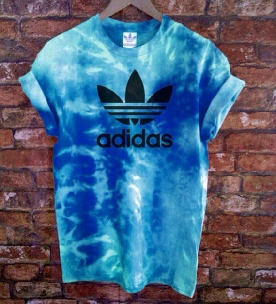Unisex authentic adidas originals tie dye sea blue tie dye for Nike tie dye shirt and shorts