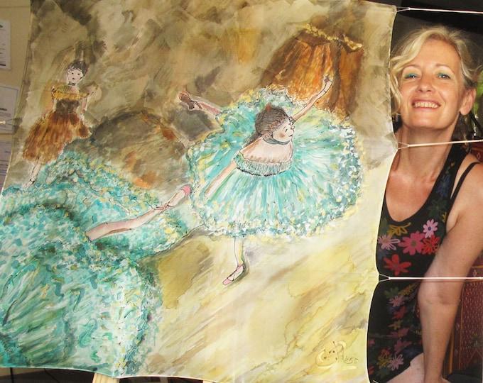 Pañuelo Seda Natural   90 x 90 cm. Bailarinas. Marrón y verde turquesa