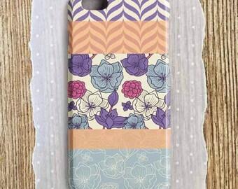 Floral Phone Case Herringbone Flower Phone Case Peach Purple Pink Stripe Phone Case Floral iPhone 6 Case Floral iPhone 6s Case iPhone Tough