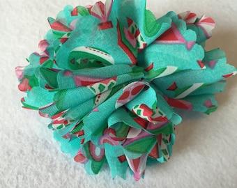 Christmas Ornament Clip On Ribbon Flower