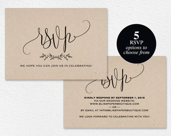 Wedding rsvp etsy for Rsvp cards for weddings templates