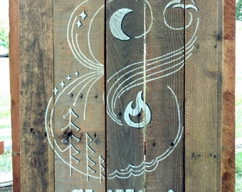 Grillin' & Chillin' reclaimed wood hand painted deck sign