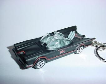 3D 1960's Batmobile custom keychain by Brian Thornton keyring key chain finished flat black color trim diecast metal body Batman TV series