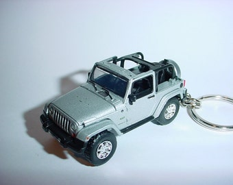 3D Jeep Wrangler custom keychain by Brian Thornton keyring key chain finished in silver racing trim 4x4 offroad ready mission truck
