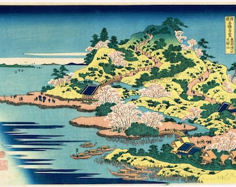 "Japanese Ukiyo-e Woodblock print, Hokusai, ""Tenpôzan at the Mouth of the Aji River in Settsu Province"""